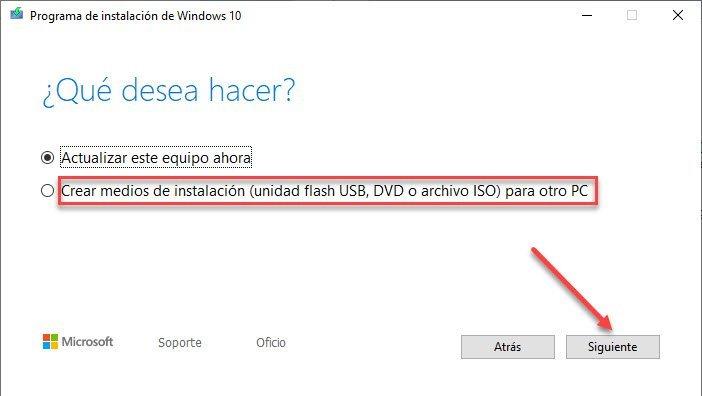 Creación de Medios de Instalación de Windows 10