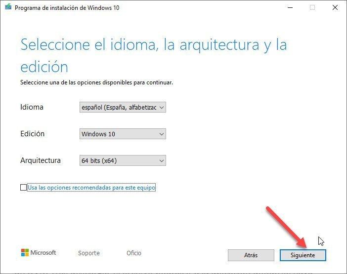 Configurar la herramienta de Instalación de Windows 10